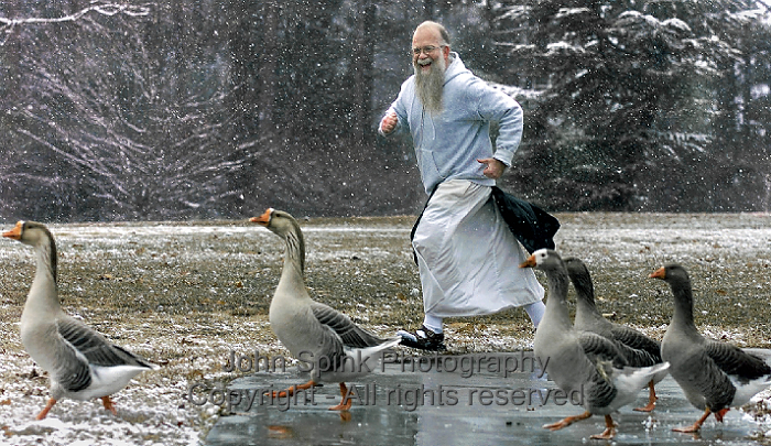 Monastery of the Holy Spirit_Monk Racing The Geese_John Spink Photographer