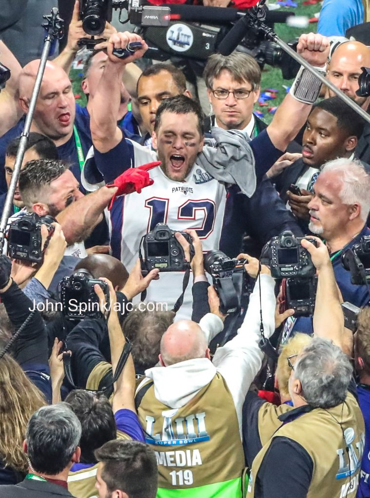 John Spink/Atlanta Journal-Constitution - Brady celebrates victory on Sunday Feb. 3, 2019 at the Super Bowl between the New England Patriots and the L.A. Rams at Mercedes-Benz Stadium in Atlanta.